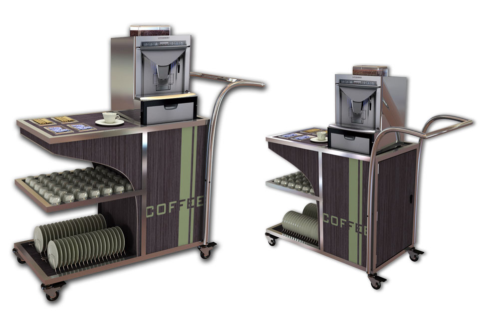 Custom catering trolleys with shelves