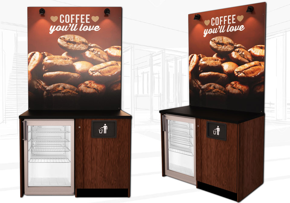 Brown small coffee kiosk with fridge