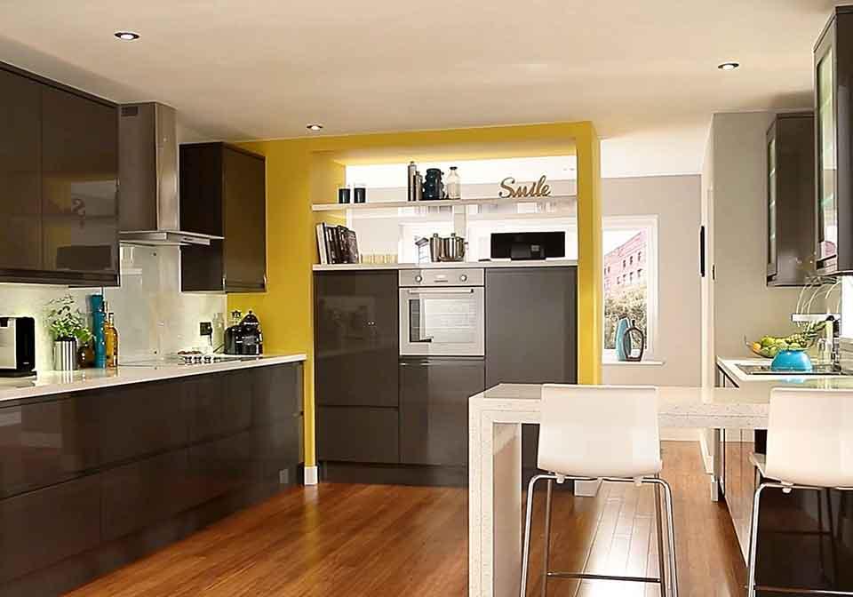 Kitchen Installations grey and yellow kitchen